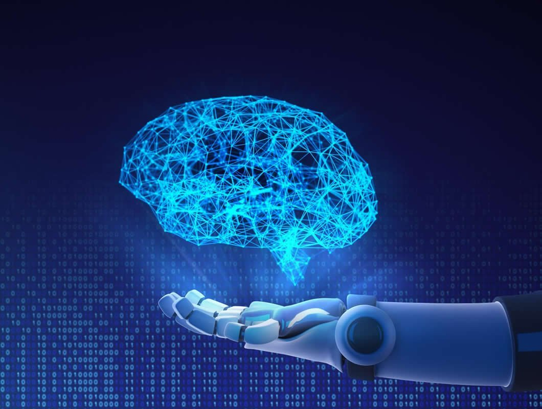 This shows a robot hand holding a brain