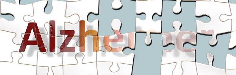This shows a jogsaw puzzle with the word Alzheimer's written on it