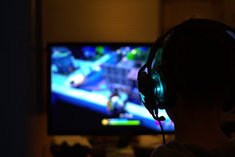 This shows a person playing a video game