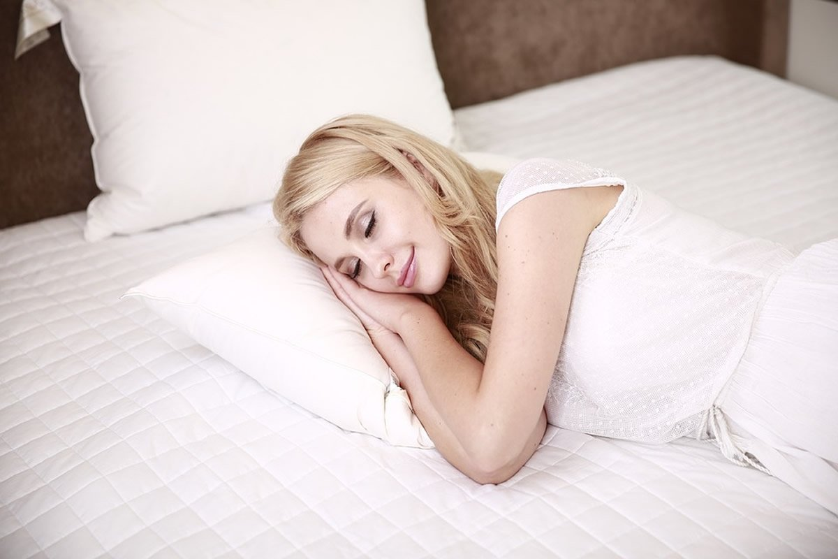 This shows a woman sleeping