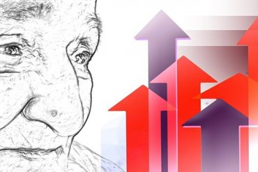 This shows a drawing of an older woman