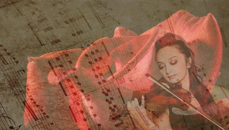 This shows a woman playing the violin