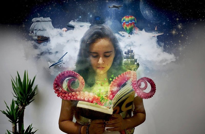 This shows a girl reading a book with an octopus shooting out of it