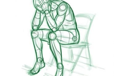 This is a drawing of a man sitting on a chair holding their head
