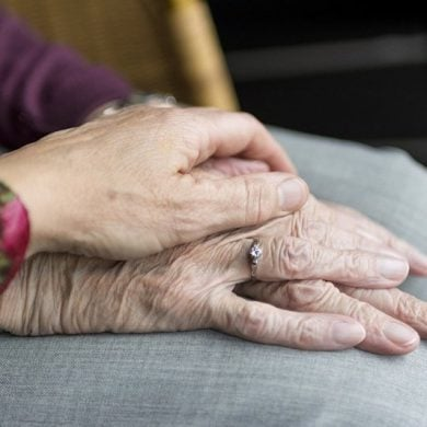 This shows old lady's hands