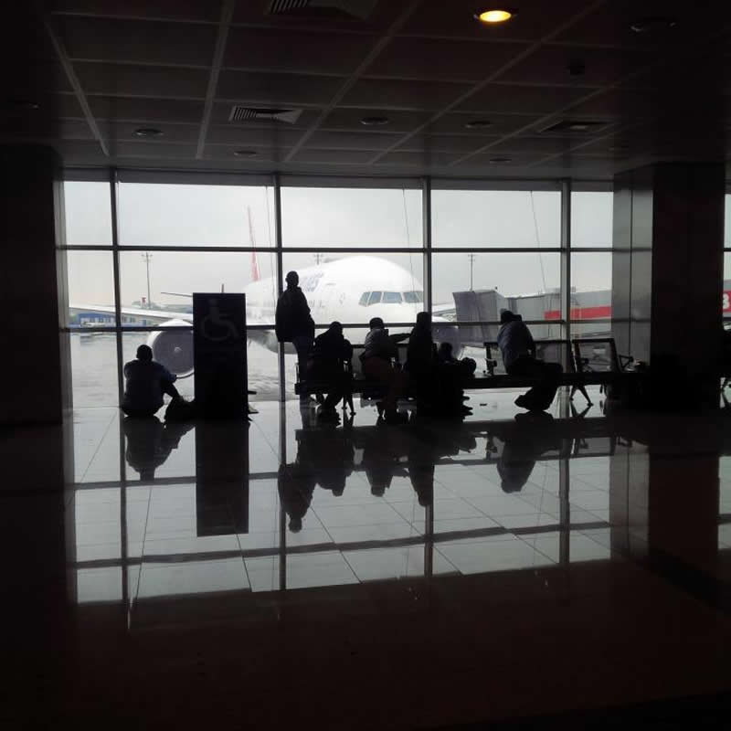 This shows people at an airport
