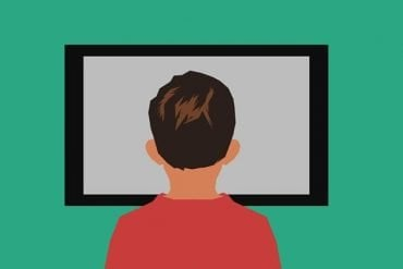 This is a drawing of a person in front of a TV set