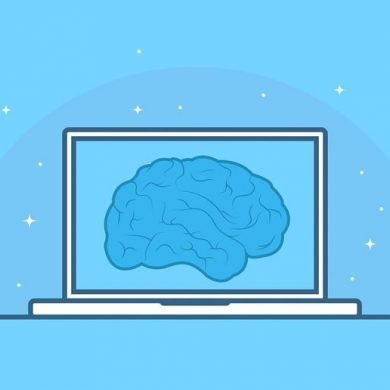 This shows a computer and a brain