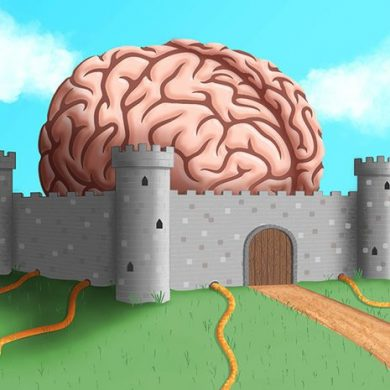 This is a drawing of a brain in a castle