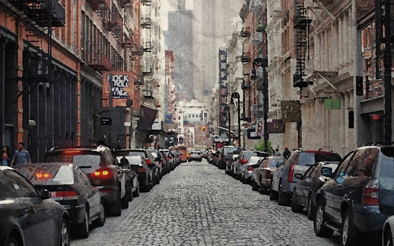 This shows cars on a busy street