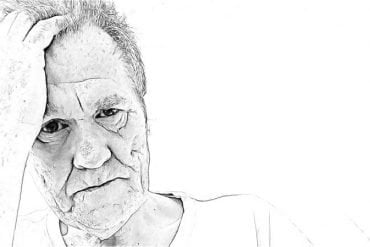This is a drawing of a person in pain