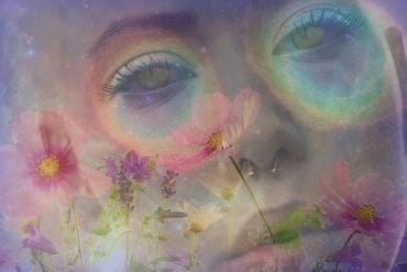 This shows a psychedelic face and flowers