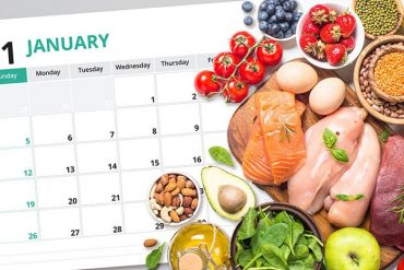 This shows high protein food and a calender