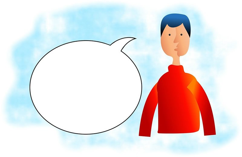This shows a man and a speech bubble