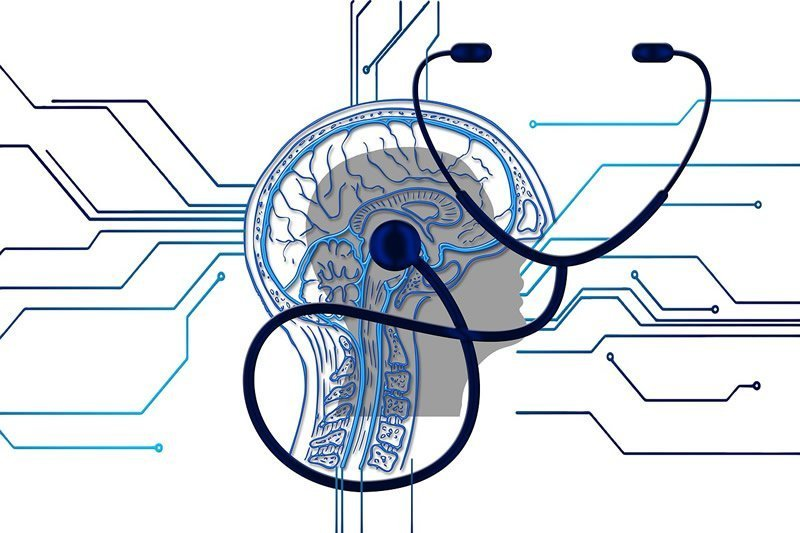 This shows a brain and a stethoscope