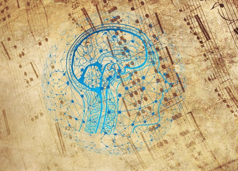 This shows sheet music and a brain