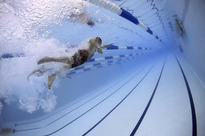 This shows a person swimming