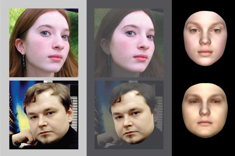 This shows the process from real face image to computer generated face