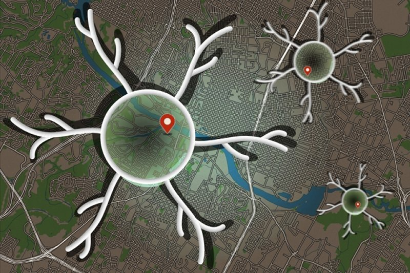 This shows a neuron and a map