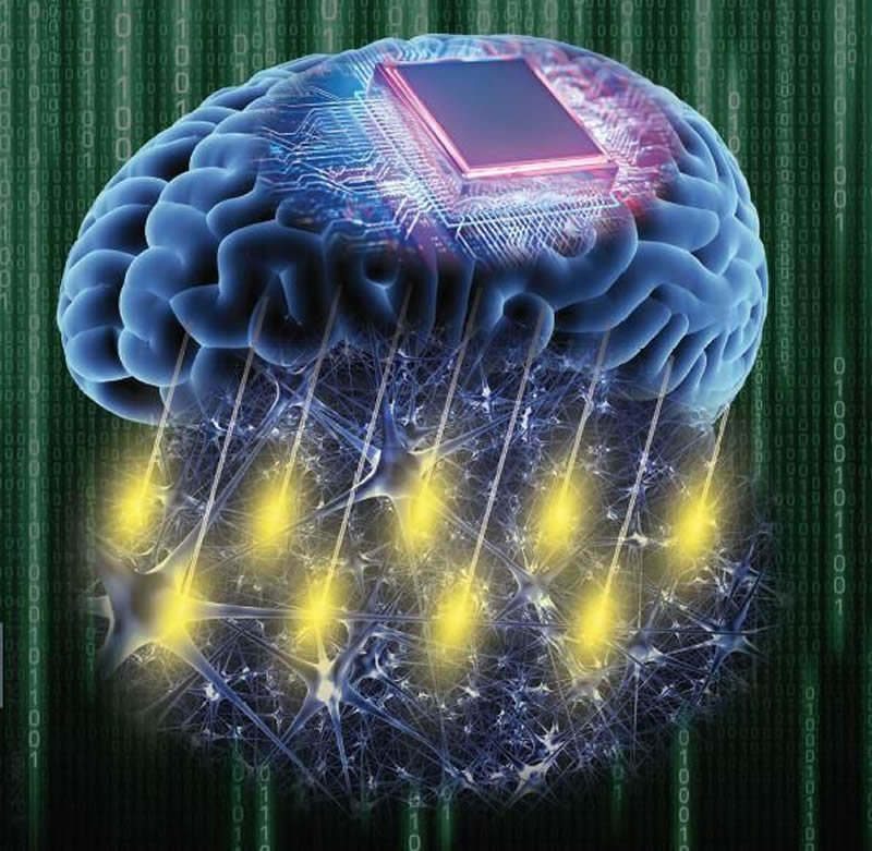 This shows a brain with a computer chip on top