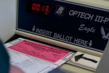 This shows a voting machine