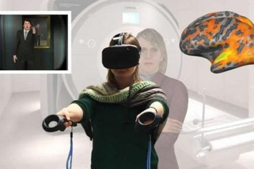 This shows a person in a vr headset