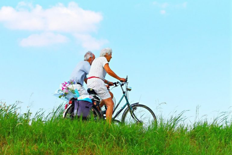This shows older people riding bikes