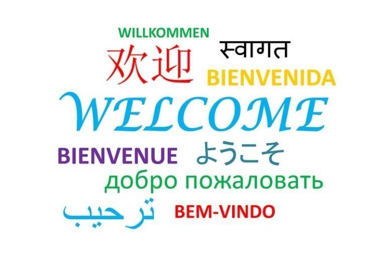 This says welcome in different languages