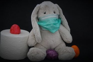 This shows a toy bunny with a facemask