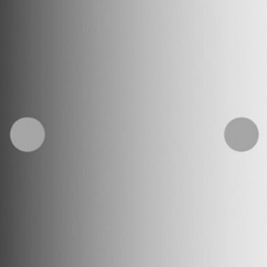 This shows two dots against a monochrome gradient background