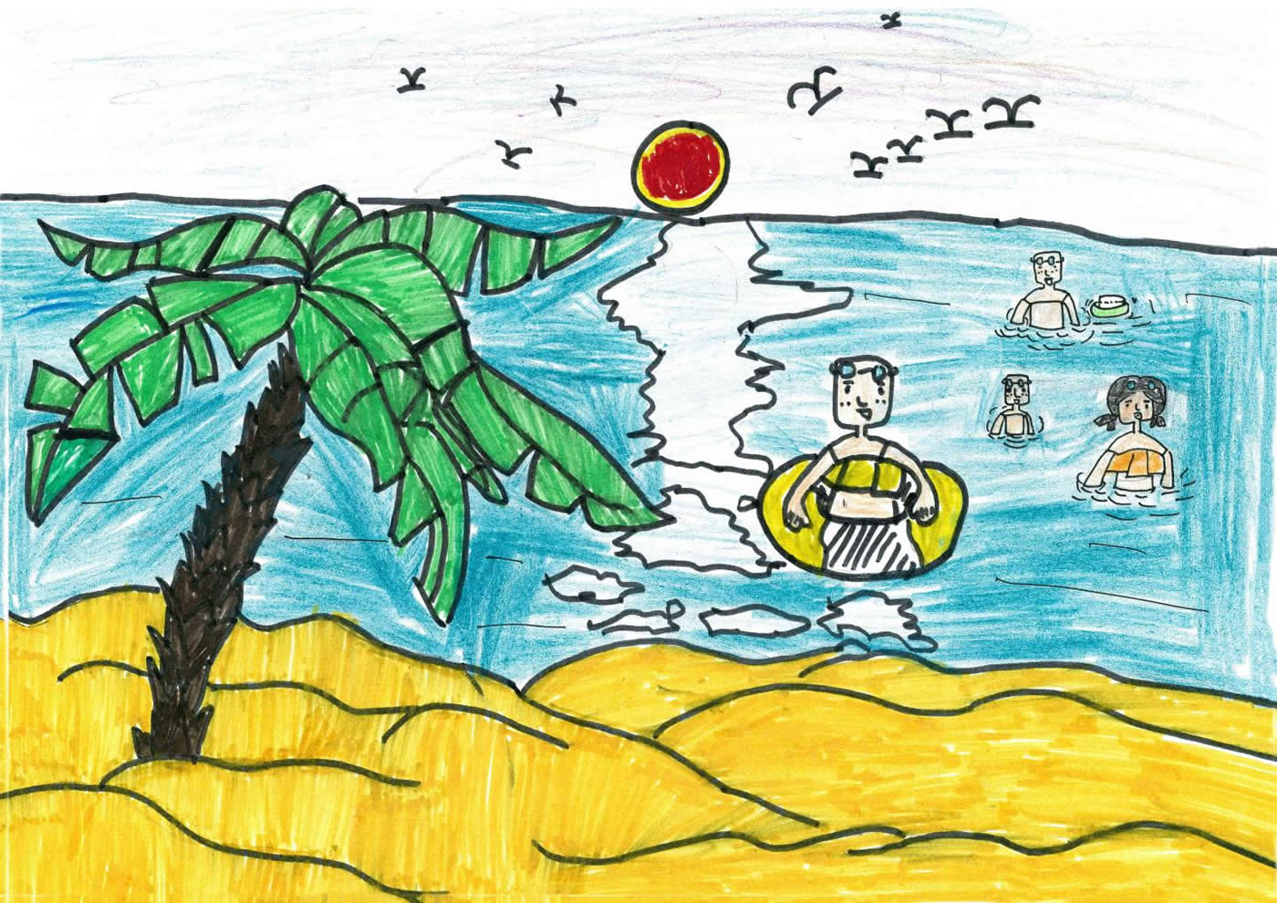 This is a child's drawing of a day at a beach