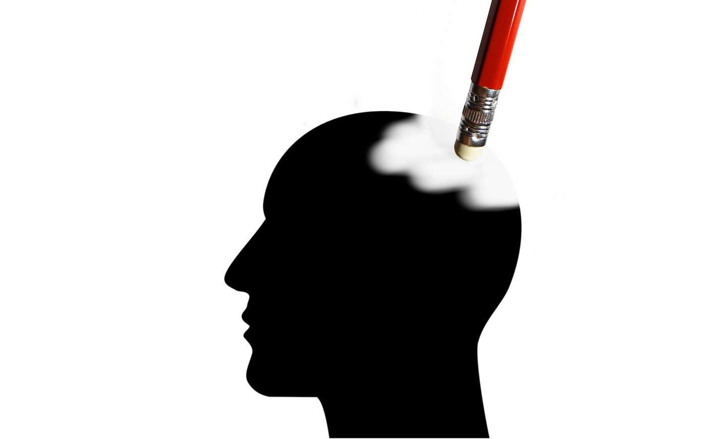This shows a head with a pencil erasing it