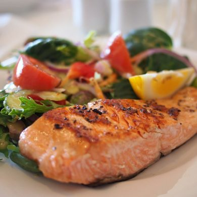 This shows salmon on a plate