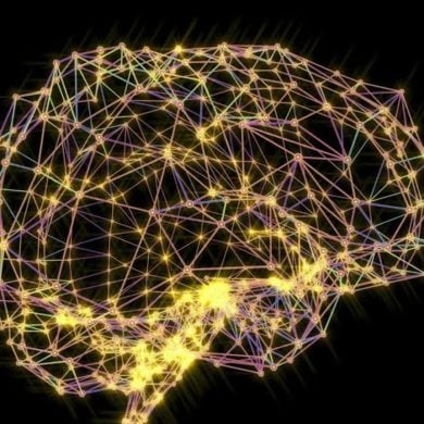 This shows a brain made up of network nodes