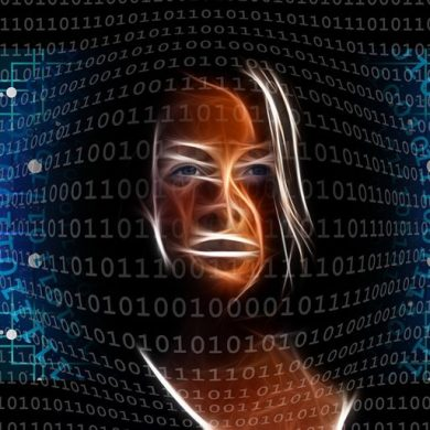 This shows a woman's face and computer code