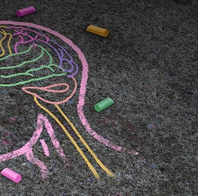 This shows a chalk drawing of a brain
