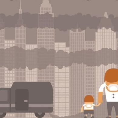 This shows a cartoon of a man and child in pollution