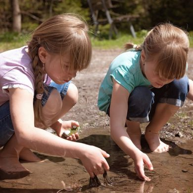 This shows kids digging in dirt
