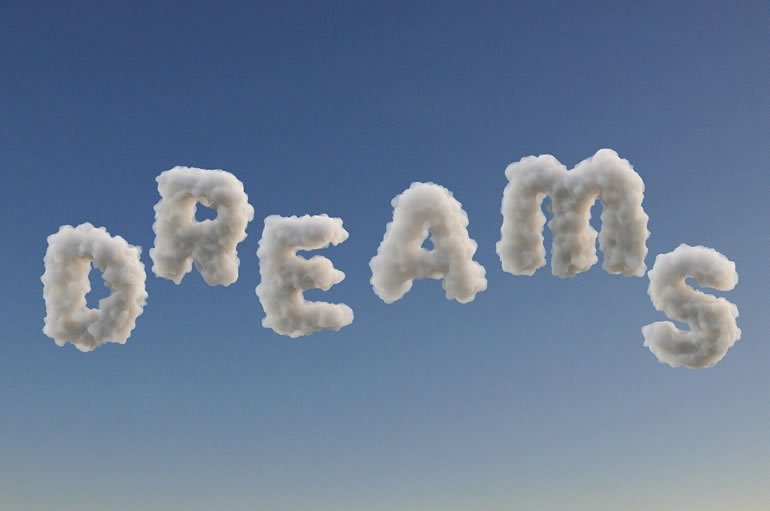 This says dreams written in clouds
