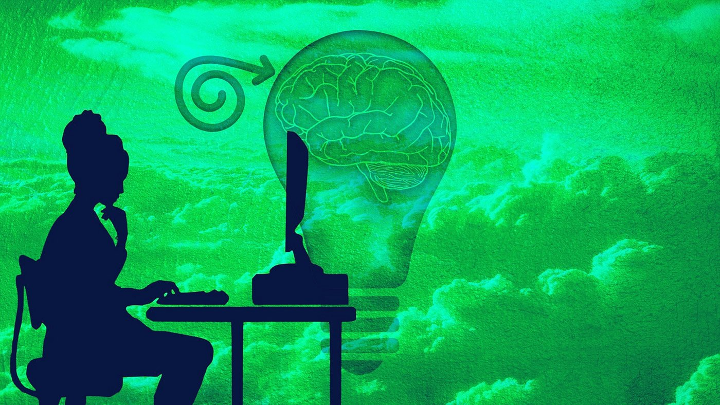 This shows a woman and a brain in a lightbulb