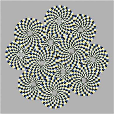 This shows a swirling ring optical illusion