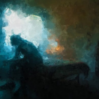 This is a painting of a depressed person