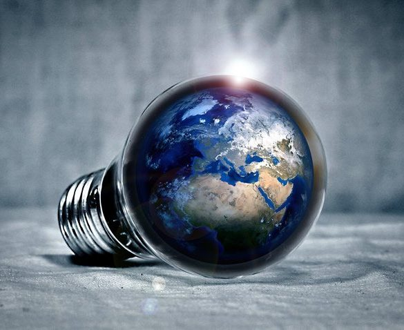 This shows the earth in a lightbulb