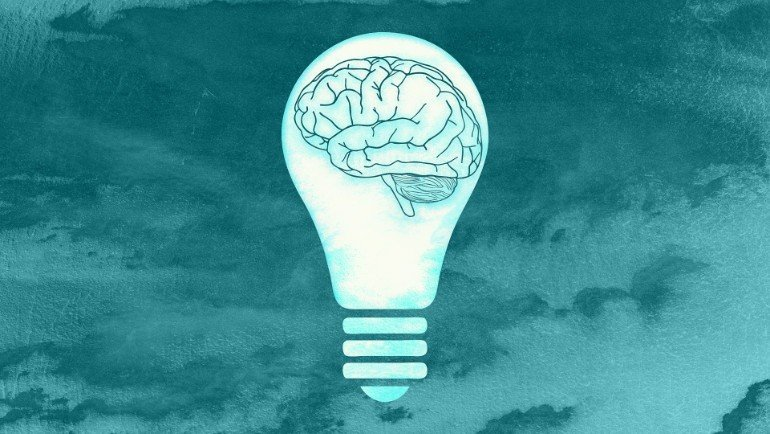 This shows a brain in a lightbulb
