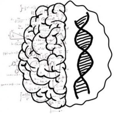 This shows a brain, numbers and dna