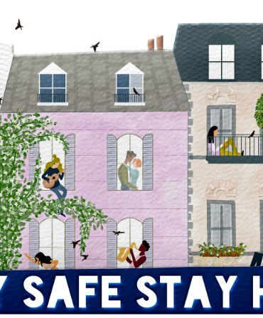 This shows a cartoon of people in their houses