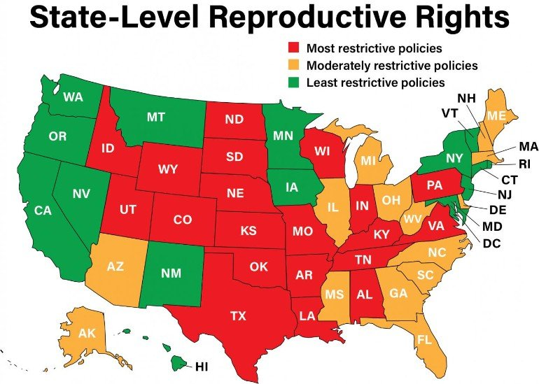 This map breaks down reproductive rights access state by state