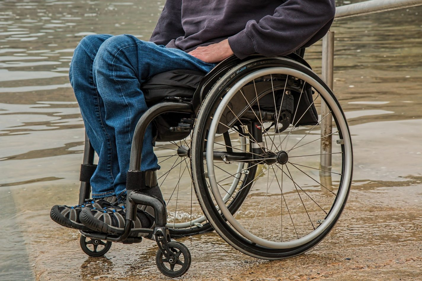 This shows a person in a wheelchair