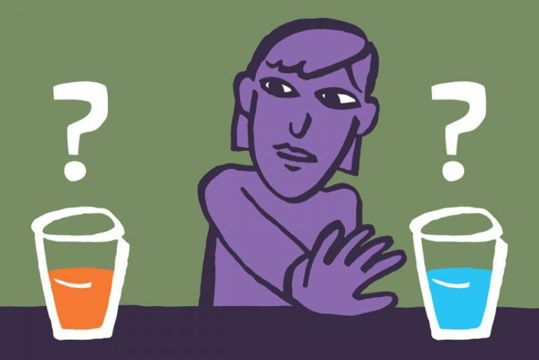 This cartoon shows a woman decising between two glasses of juice
