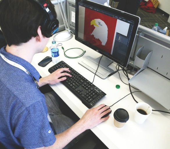 This shows a person using a computer